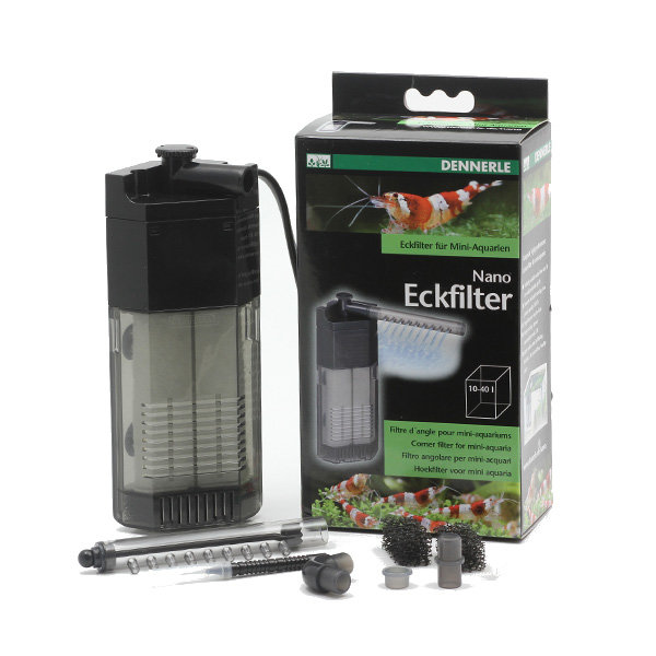 Dennerle Nano Filtro di Angolo per Mini Acquari + Gamberi 10-40 L da Pulire Cubo