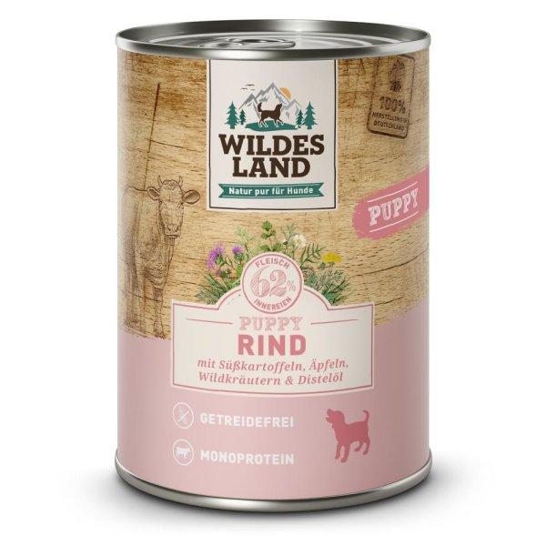 WILDES LAND Nassfutter Puppy Rind mit Süßkartoffel 400g